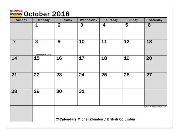 Calendar October 2018, with the holidays of British Columbia. Free planner to print.