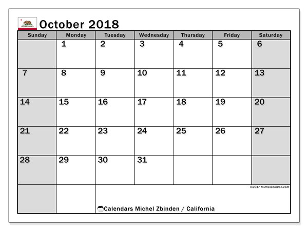 Calendar October 2018, with the holidays of California. Free printable calendar.