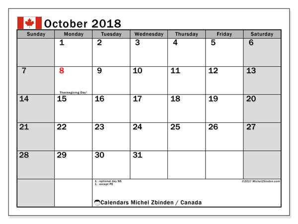 Calendar October 2018, with the holidays of Canada. Monthly planner to print free.