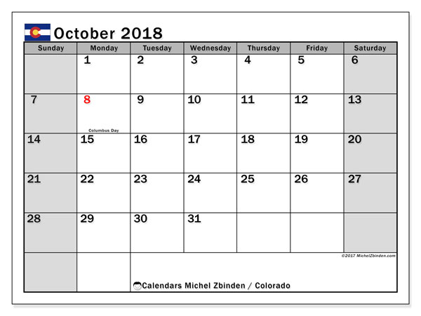 Calendar October 2018, with the holidays of Colorado. Monthly planner to print free.