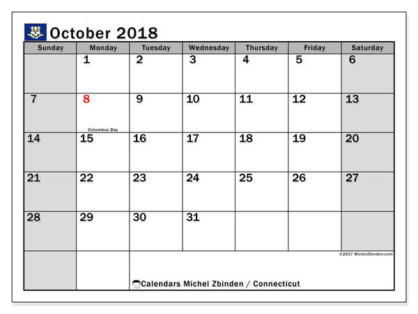 Calendar October 2018, with the holidays of Connecticut. Free printable planner.