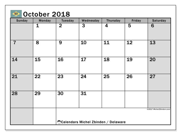 Calendar October 2018, with the holidays of Delaware. Monthly calendar to print free.
