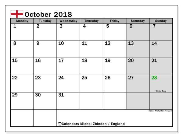 Calendar October 2018, with the holidays of England. Free printable calendar.