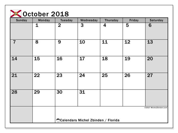 Calendar October 2018, with the holidays of Florida. Monthly calendar to print free.