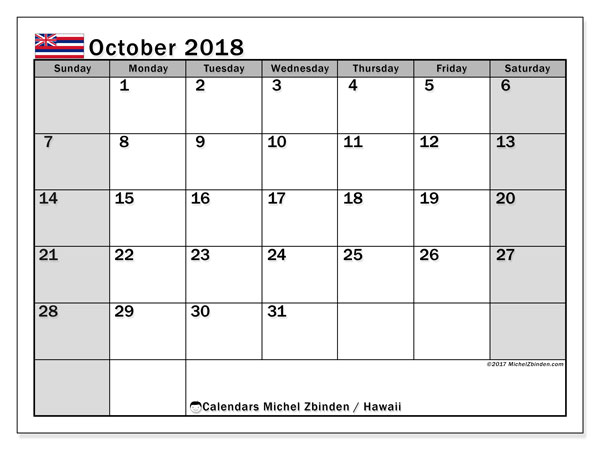 Calendar October 2018, with the holidays of Hawaii. Free printable planner.