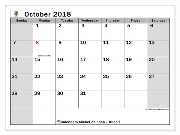 Free printable calendar October 2018, with holidays for Illinois