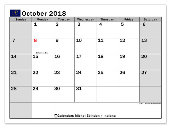 Calendar October 2018, with the holidays of Indiana. Free printable monthly planner.