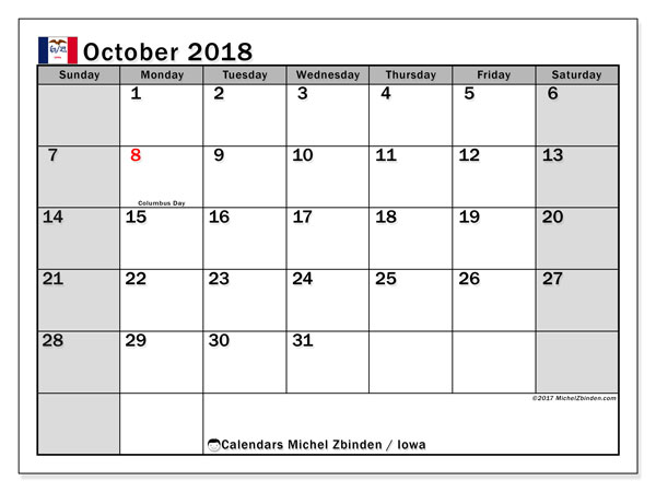 Calendar October 2018, with the holidays of Iowa. Monthly planner to print free.