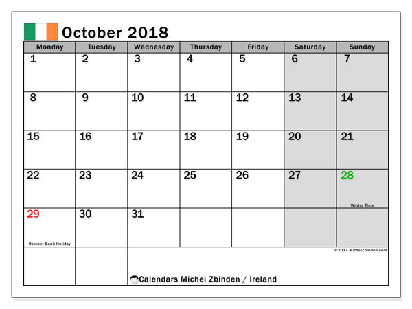 Calendar October 2018, with the holidays of Ireland. Free printable monthly planner.