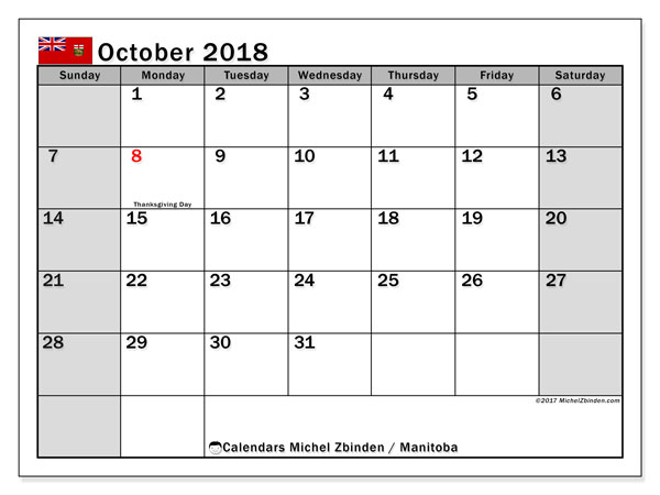 Calendar October 2018, with the holidays of Manitoba. Free printable bullet journal.