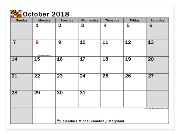 Calendar October 2018, with the holidays of Maryland. Planner to print free.