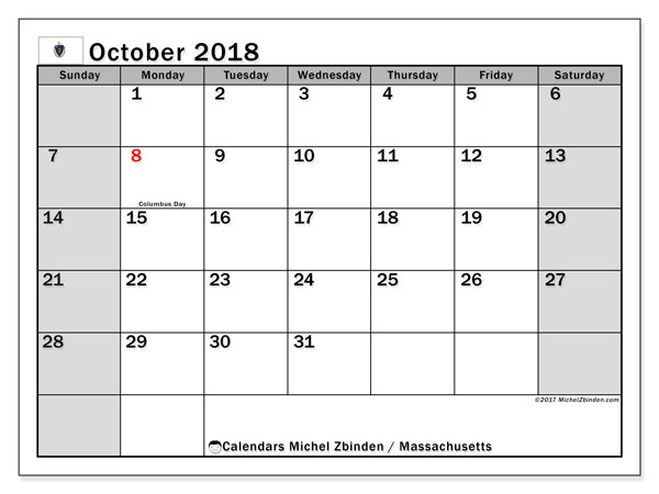 Free printable calendar October 2018, with the holidays of Massachusetts. Monthly calendar.