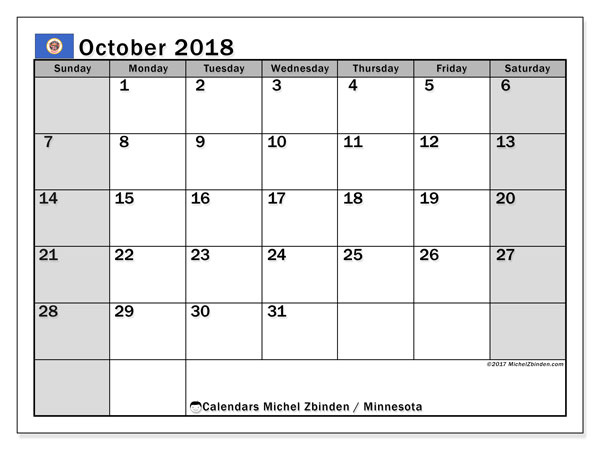 Calendar October 2018, with the holidays of Minnesota. Monthly calendar to print free.