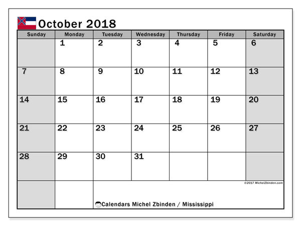 Calendar October 2018, with the holidays of Mississippi. Free printable bullet journal.