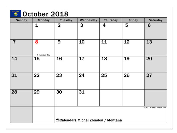 Calendar October 2018, with the holidays of Montana. Free printable bullet journal.