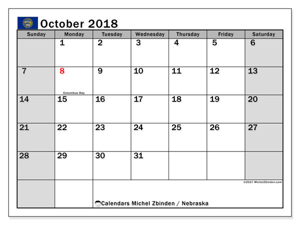 Calendar October 2018, with the holidays of Nebraska. Free printable monthly planner.