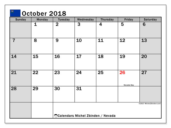 Calendar October 2018, with the holidays of Nevada. Free calendar to print.