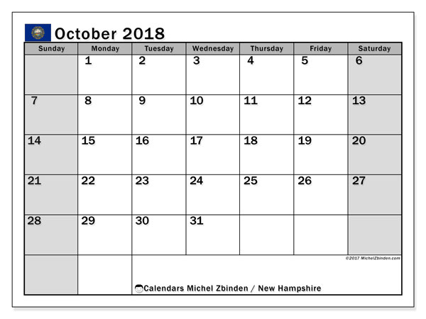 Calendar October 2018, with the holidays of New Hampshire. Free calendar to print.