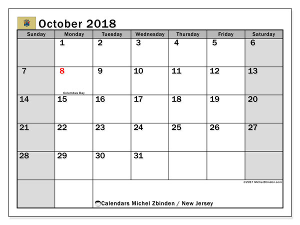 Calendar October 2018, with the holidays of New Jersey. Free printable monthly planner.