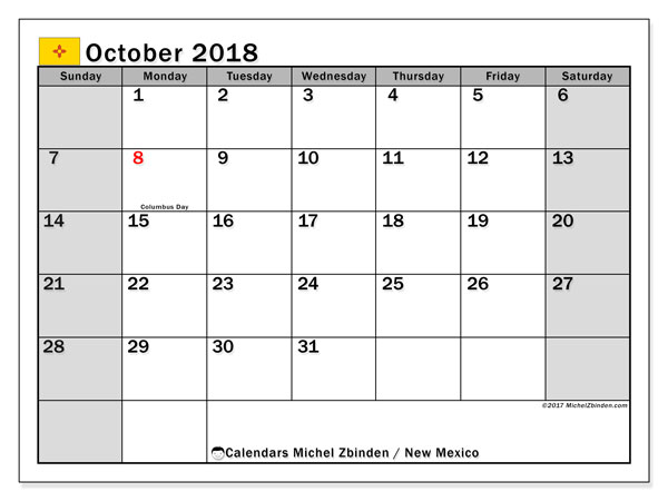 Calendar October 2018, with the holidays of New Mexico. Free printable calendar.