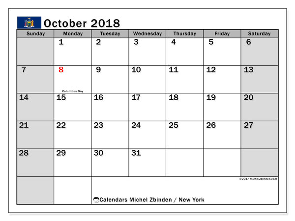 Free printable calendar October 2018, with holidays for New York