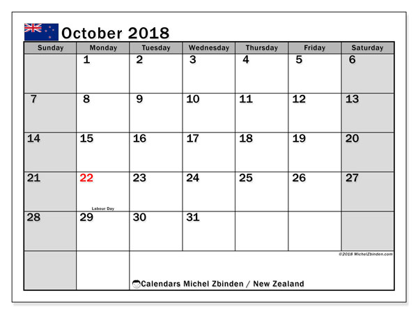 Calendar October 2018, with the holidays of New Zealand. Free printable monthly calendar.
