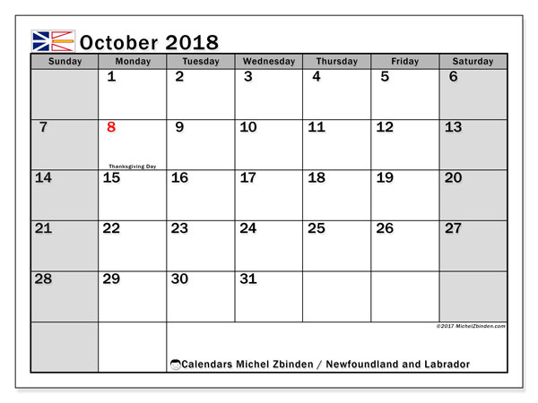 Calendar October 2018, with the holidays of Newfoundland and Labrador. Free printable calendar.