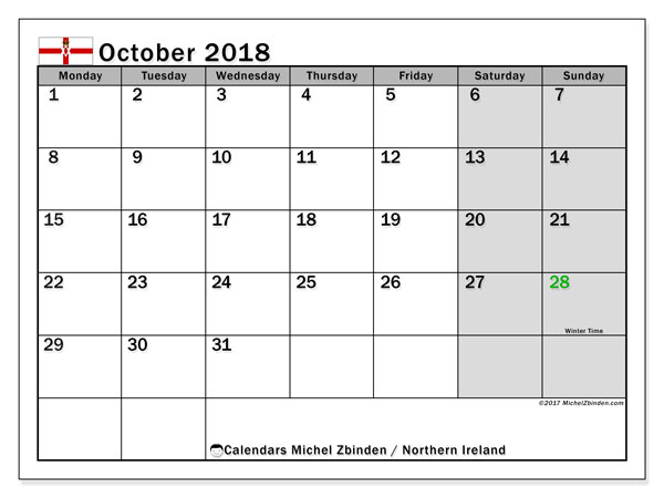 Calendar October 2018, with the holidays in Northern Ireland. Monthly planner to print free.