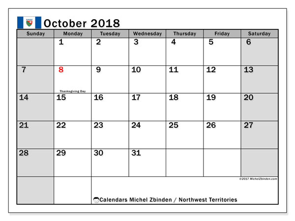 Calendar October 2018, with the holidays of Northwest Territories. Free planner to print.