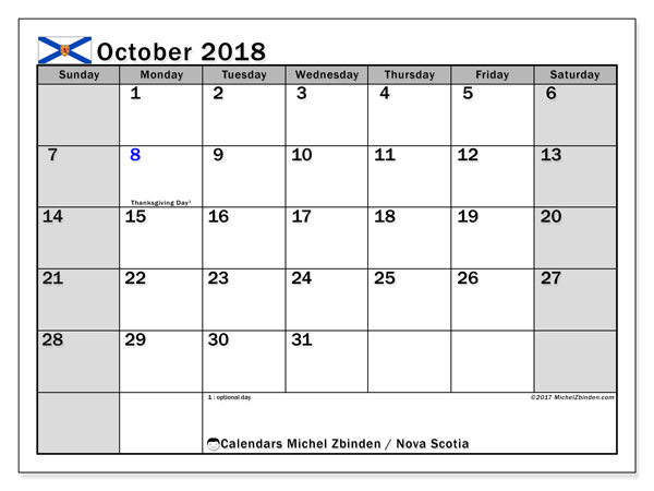 Calendar October 2018, with the holidays of Nova Scotia. Calendar for the month to print free.