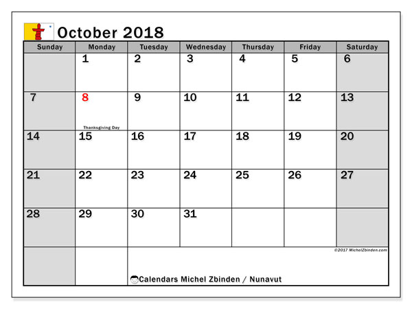 Calendar October 2018, with the holidays of Nunavut. Free printable monthly calendar.