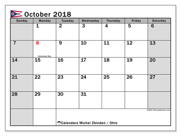 Calendar October 2018, with the holidays of Ohio. Free printable monthly calendar.