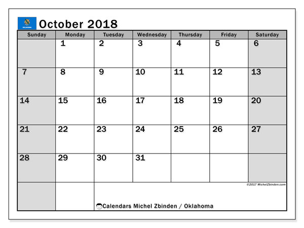 Calendar October 2018, with the holidays of Oklahoma. Free printable monthly planner.