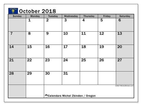 Calendar October 2018, with the holidays of Oregon. Planner to print free.