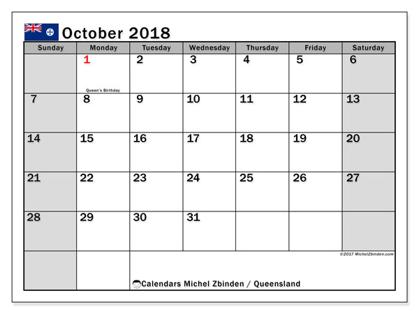 Calendar October 2018, with the holidays of Queensland. Free printable planner.