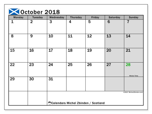 Calendar October 2018, with the holidays of Scotland. Free printable monthly planner.