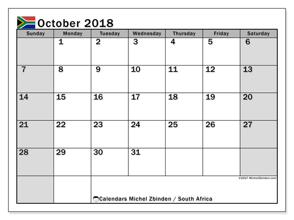 Calendar October 2018, with the holidays of South Africa. Free calendar to print.