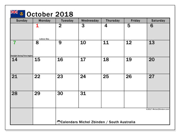 Calendar October 2018, with the holidays of South Australia. Monthly planner to print free.