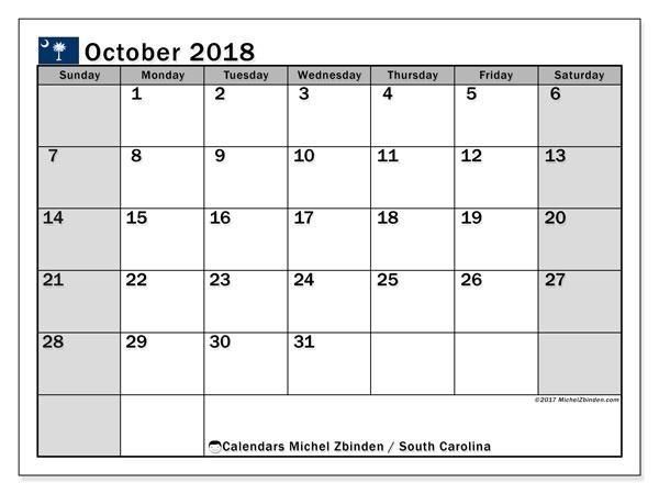 Calendar October 2018, with the holidays of South Carolina. Free printable monthly calendar.