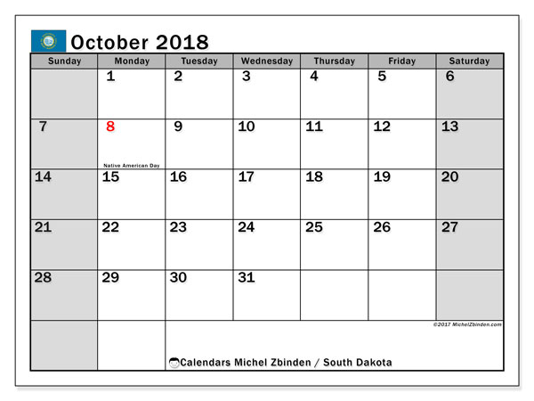 Calendar October 2018, with the holidays of South Dakota. Monthly calendar to print free.