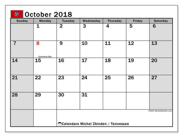 Calendar October 2018, with the holidays of Tennessee. Free printable monthly planner.