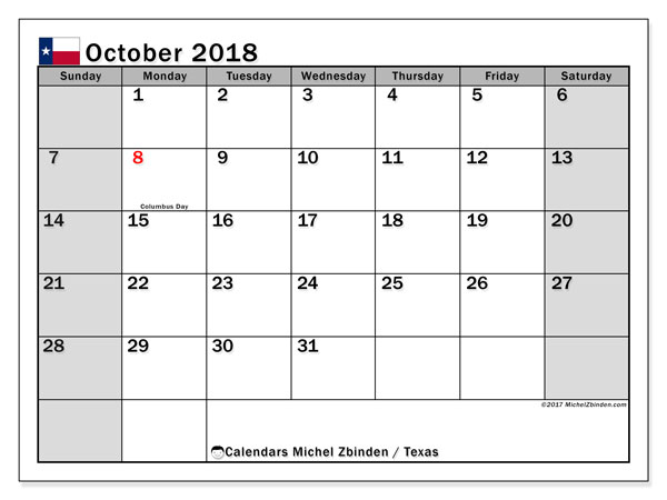 Calendar October 2018, with the holidays of Texas. Calendar for the month to print free.