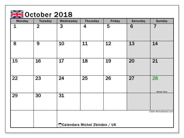 Calendar October 2018, with the holidays of the UK. Free printable monthly calendar.