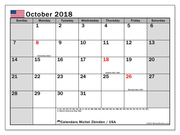 Calendar October 2018, with the holidays of the USA. Free printable calendar.