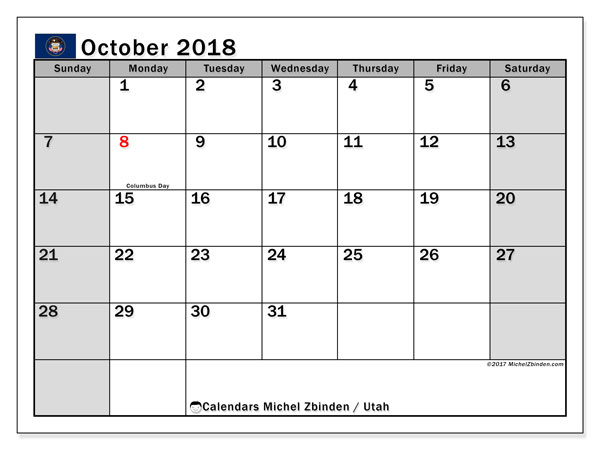 Calendar October 2018, with the holidays of Utah. Free printable bullet journal.