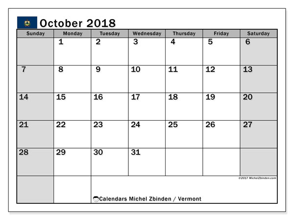 Calendar October 2018, with the holidays of Vermont. Calendar to print free.