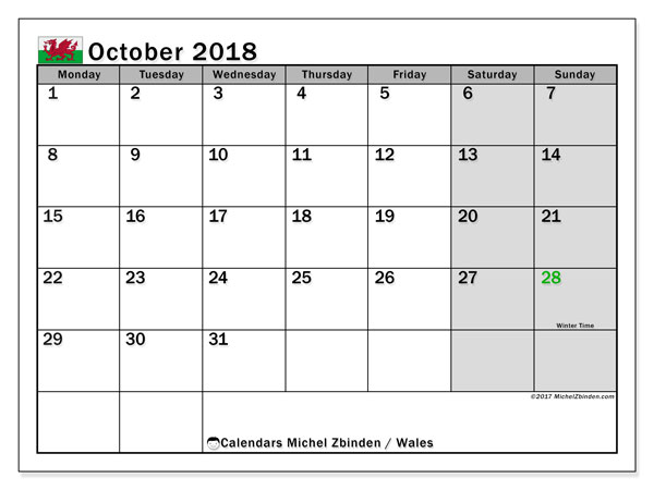 Calendar October 2018, with the holidays of Wales. Free calendar to print.
