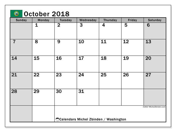 Calendar October 2018, with the holidays of Washington. Free printable monthly calendar.