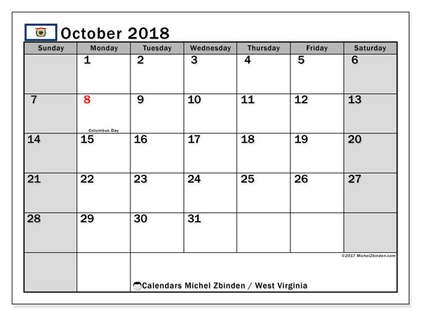 Calendar October 2018, with the holidays of West Virginia. Free planner to print.