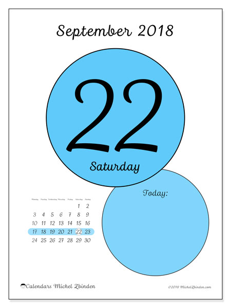 Calendar September 2018 (45-22MS). Calendar for the day to print free.